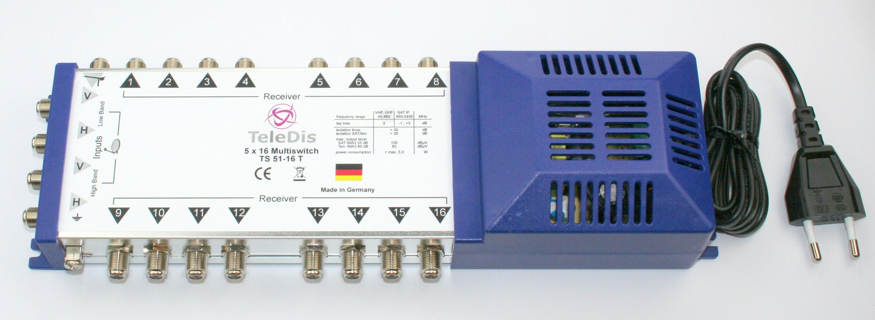 TS 51-16 T, Multischalter 5 in auf 16 out, Netzteil